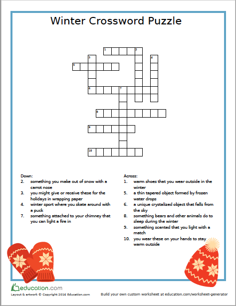 It's just a photo of Fall Crossword Puzzle Printable in grade 7